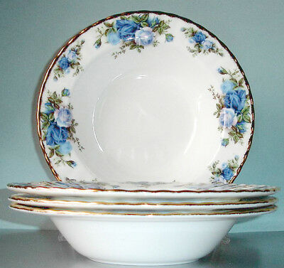 "Royal Albert MOONLIGHT ROSE Rim Soup Bowl SET/4 Blue Roses 8"" Boxed New"