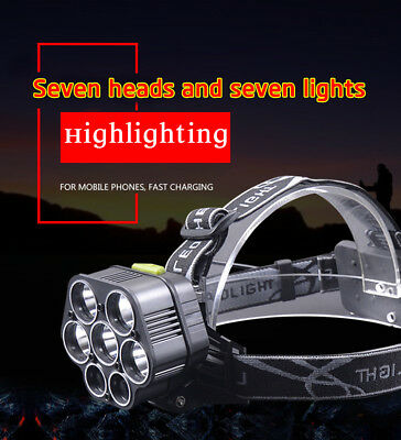 Bright LED Headlamp 5 *T6+2*XPE Head Light Flashlight Torch Lamp Rechargeable