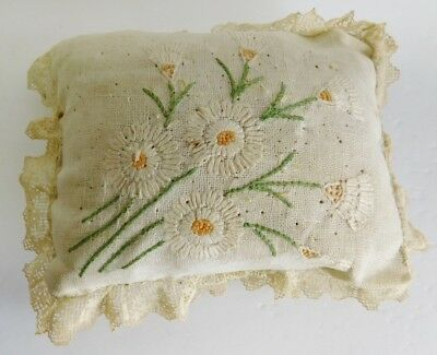 Vintage Antique Hand Sewn Embroidered Sewing Pin Cushion Hatpin Holder Flowers