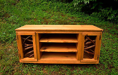 Rustic Wood Table TV Media Stand Console Log Cabin Art Furniture FREE S/H gold