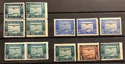 Romania 1931 TIMBRUL AVIATIEI GEM MNH MH COLOR VARIATIONS Pairs Stamps High CV
