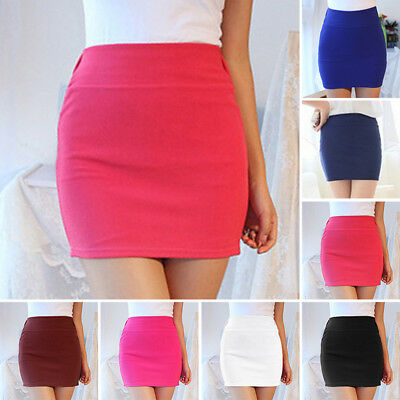 Ladies Slim Upper Thigh Length Mini Skirt A-line Short Dress Elegant Plain Solid