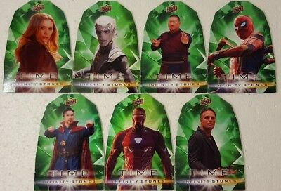 2018  Marvel Avengers Infinity War TIME STONE 7 Cards Set die cut