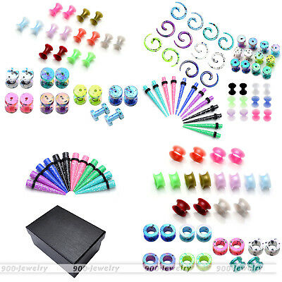 Acrylic Snail Taper Screw Flesh Ear Plugs External Tunnel Expander Stretcher Set