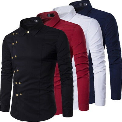 Stylish Men's Casual Shirts Double Breasted Long Sleeve Dress Shirts