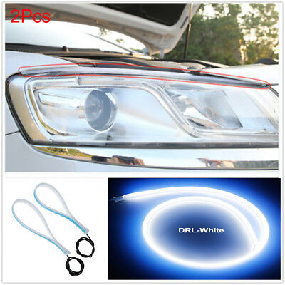 2Pcs Soft Tube Ultra Thin LED Daytime Running Light Car Headlight Led Strip AU