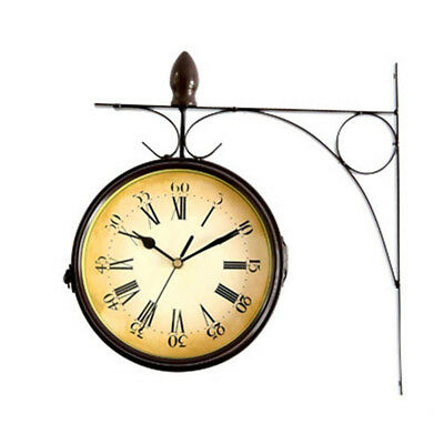 Retro Hanging Wall Clock Decor Double Sided Metal Station Watch Design