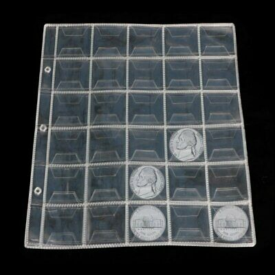 10 Pages 30 Pockets Plastic Coin Holders Storage Collection Money Album Case XU