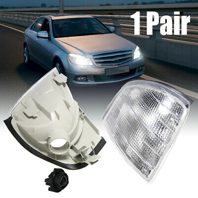 1Pair Clear Turn Signal Corner Light For Mercedes Benz C Class W202 1994-2000