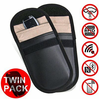 2 Pack Car Key Signal Blocker Keyless Entry Anti-Theft Fob Pouch Faraday Bag
