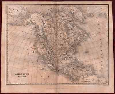 Old Map North America Steel Engraving 19th Century Jules Renouard