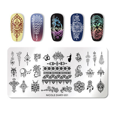 NICOLE DIARY Nail Stamping Plates Dreamcatcher Mandala Flower Nail Template 051