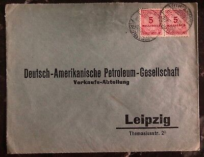 1923 Wemberg Germany Inflation Rate Cover To Leipzig German American Petroleum