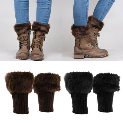 2 Pairs Soft Fluffy Knit Boots Cuff Fur Topper Leg Warmer Women Black Coffee