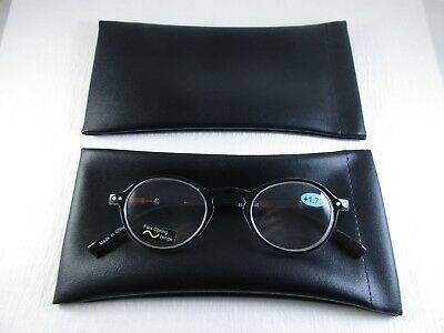 ~LOT of TWO~BLACK Faux Leather Spring Top Slip-In Reading Eyeglass Cases Pouch