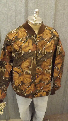 49628e5f717f2 Vtg NEW Mossy Oak Fall Foliage Camo Jacket Sz LARGE USA Made Cotton Chamois  NOS