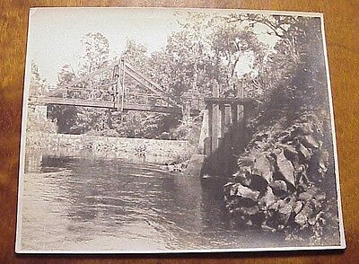 "1900's East Maui Irrigation Reservoir Bridge Horseback TH Hawaii 3 3/4"" x 4 1/2"""