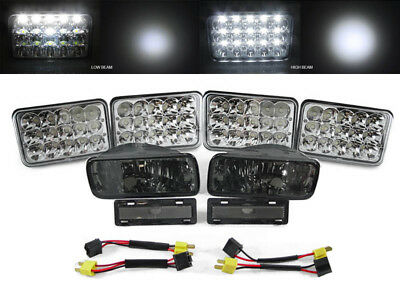 LED Headlights+Adapters+Smoke Bumper Signal+Marker Lights for 85-92 Chevy Camaro