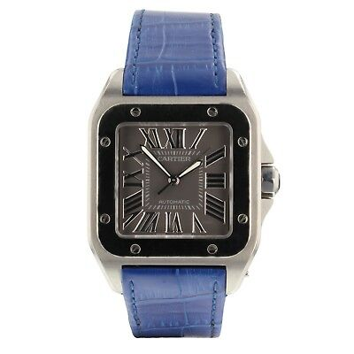 4d03392f8002 Cartier Santos 100 Steel Automatic Special Edition Grey Dial Mens Watch  W20134X8