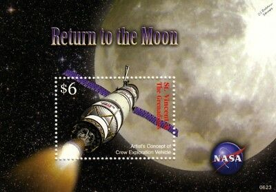 NASA Return to the Moon Spacecraft Space Stamp Sheet (2006 St Vincent)