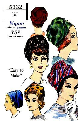 Vintage Vogue Millinery Hat Turban Fabric Material sew pattern #5332