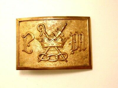 vintage fraternal belt buckle with crown, sword, staff and 3 interlocked links