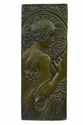 Art Nouveau The Blonde Large Bronze Plaque  Signed by Mucha, Lost Wax Method Art