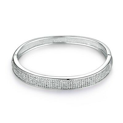 18K White Gold Filled Stunning Charms Sapphire Crystal Silver Bangle Bracelet