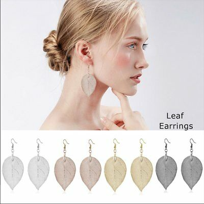 Fashion Hollow Rearl Leaf Women Lady Ear Hook Drop Dangle Stud Earrings Jewelry