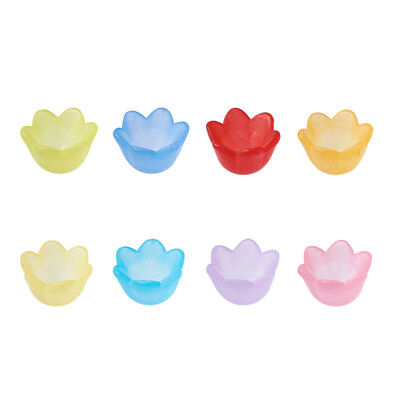 200 Pcs Mixed Transparent Frosted Acrylic Flower Bead Caps 10x9x6.5mm Hole:1.5mm