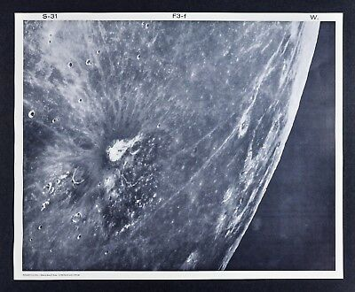 1960 Lunar Moon Map Photo Aristarchus Crater Struve F3-f  Mt. Wilson Plate S-31