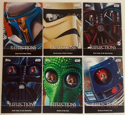 STAR WARS  Card Trader Trading Card set of 7 REFLECTIONS R1 - 7 Topps 2016
