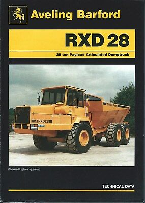 Equipment Brochure - Aveling Barford - RXD28 Dump Truck - 1989 - Mining (E4892)