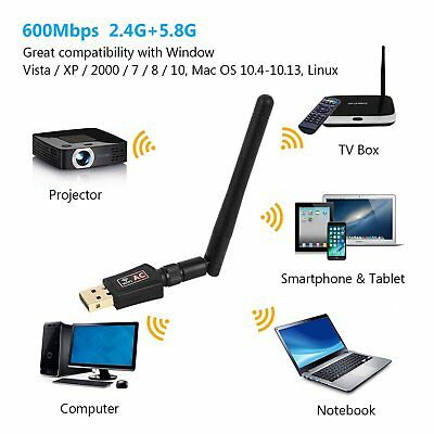 600 Mbps Dual Band WIFI WLAN Stick Adapter USB IEEE 802.11ac/b/g/n 2,4 & 5 GHz