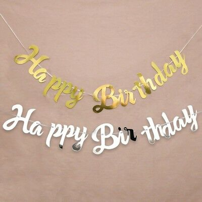 2m Gold/Silver Happy Birthday Banner Bunting Hanging Garland Party Decor