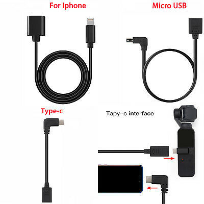 For DJI OSMO POCKET Extension Data Sync Cable Cord For Micro USB/Type C/IOS
