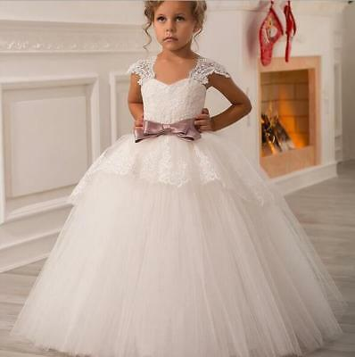 Lace Flower Girl Dresses Princess Birthday Party Wedding Pageant Prom Birthday