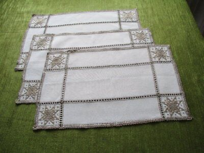 3 Vintage Lefkara Placemats/tray Cloths-Hand Embroidered