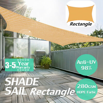280GSM Rectangle Sun Shade Sail Garden Patio Awning Canopy Sunscreen UV
