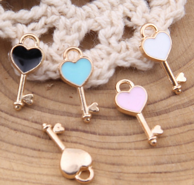 DIY 40pcs love heart small key alloy drop oil pendant jewelry accessories 16*7mm