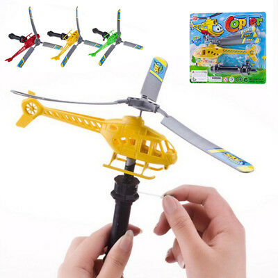 Pull String Handle Educational Helicopter Outdoor Toy Gift For Kids Wind Up Toy