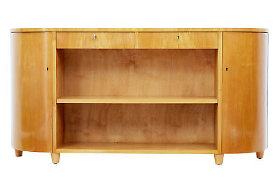 Mid 20Th Century Scandinavian Shaped Elm Low Bookcase