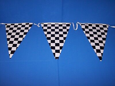 100 ft CHECKERED FLAGS BANNER PENNANTS GRAND OPENING STREAMERS STRING PARTY NEW
