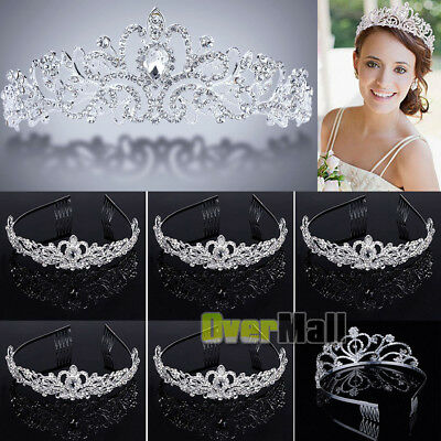 Lot Wedding Bridal Princess Crystal Prom Hair Tiara Crown Veil Headband w/ Comb