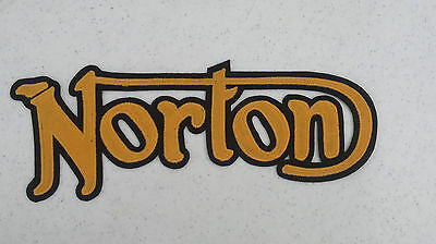 Norton Motorcycles 14 inch gold/black synthetic leather back patch. NEW NICE