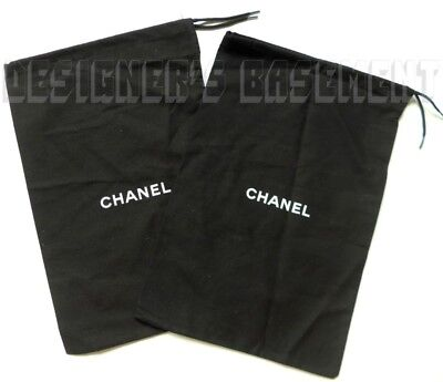 "Set of 2 CHANEL Dust Bags string tie 8.5 x 13.5"" for Shoes or Purse NEW Authentc"