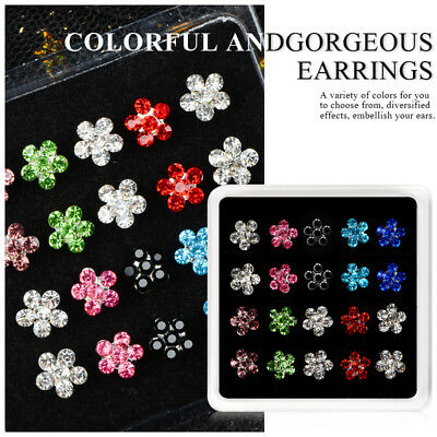Fashion Women Rhinestone Crystal Flower Earrings Set Ear Stud Jewelry 10 Pairs