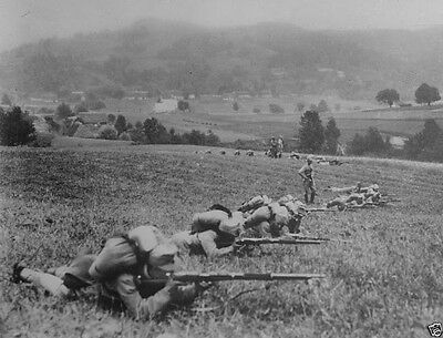 Austrian infantry with rifles deploying in a field 1914 World War I 8x10 Photo