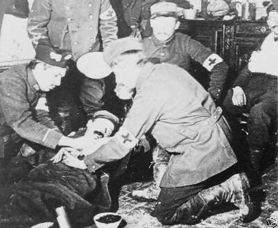 Military casualty at a front-line Red Cross hospital World War I WWI 8x10 Photo