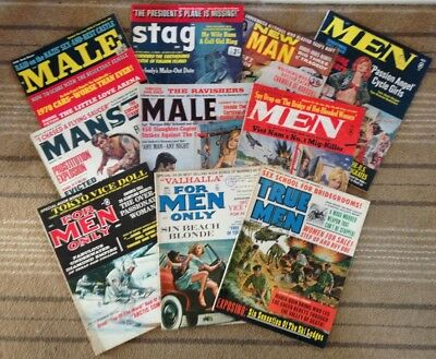 Vintage REAL MEN - STAG - MALE - NEW MAN MAGAZINES. 10 PIECE JOB LOT BUNDLE.